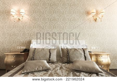 Interior of double bed hotel suite. Luxury golden design of room for just married, copy space