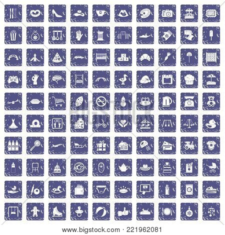 100 mother and child icons set in grunge style sapphire color isolated on white background vector illustration poster