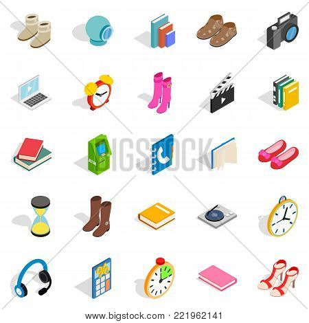 Gift icons set. Isometric set of 25 gift vector icons for web isolated on white background