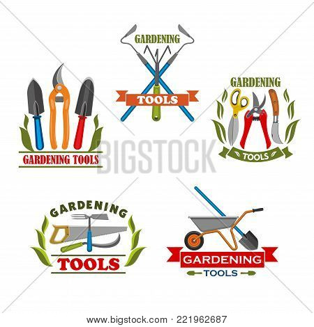 Gardening tools icons set for farming or farmer garden household. Vector isolated set of rake or pitchfork and spade, wheelbarrow and saw or gardening scissors, watering can and planting hoe
