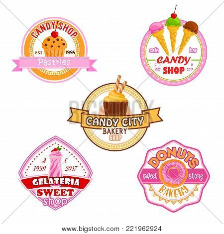 Candy shop or patisserie desserts icons of cakes, ice cream, berry and fruit cupcake, chocolate biscuit or pie and pastry tiramisu or brownie tart. Vector candies for bakery shop or cafeteria and cafe