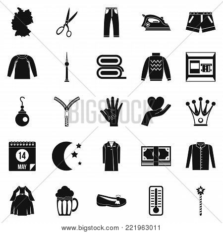 Apparel icons set. Simple set of 25 apparel vector icons for web isolated on white background