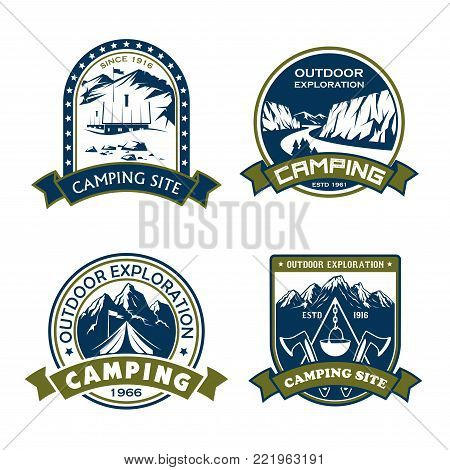 Camping site outdoor adventure icons for mountain hiking sport or extreme nature explorer team club. Vector isolated badges of Alpine mountain rock or mount, camp tent and campfire, star and ribbon