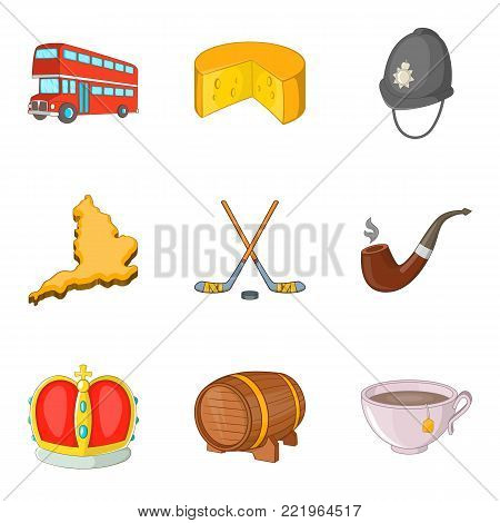 Europe trip icons set. Cartoon set of 9 europe trip vector icons for web isolated on white background