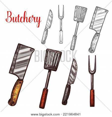 Butcher cutlery or butchery cooking or meat carving kitchen tools. Vector sketch isolated icons of knife or hatchet axe, grill spatula and fork for bbq pork or beef steak knives