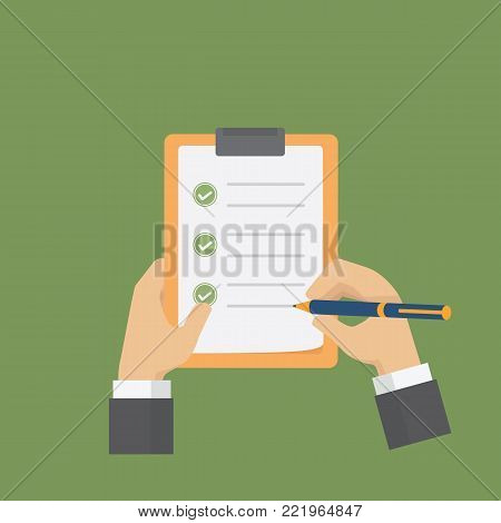 Businessman holding a clipboard and filling a checklist form. Flat survey/checklist illustration