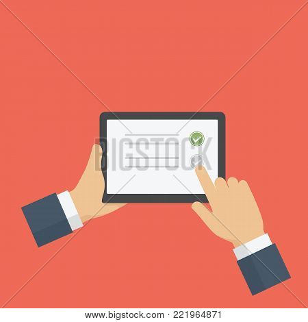 People Filling Online Survey Form On Digital Tablet. Hand holds tablet and finger touch screen. Feedback business concept