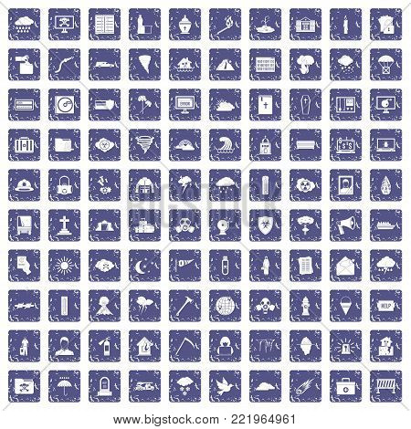 100 natural disasters icons set in grunge style sapphire color isolated on white background vector illustration poster