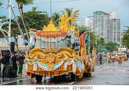 Pattaya, Thailand - November 19, 2017: The Sanctuary of Truth parade marching on the 50th anniversary ASEAN International Fleet Review 2017 to promote tourism in Pattaya city of Thailand