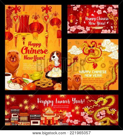 Happy Chinese New Year greeting cards for 2018 Yellow Dog Year lunar holiday. Vector traditional Chinese celebration decorations of dog, golden dragon, China temple and clouds or red paper lanterns