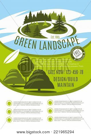 Green landscape design, build and maintain service company poster. Vector gardening or garden horticulture landscaping for green nature trees or park gardens and woodland plantations design template