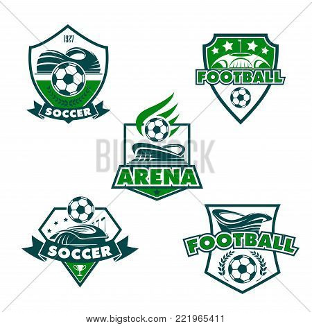 Soccer club or football college league team icons templates. Vector heraldic badge shields of soccer ball, football arena stadium, winner cup or stars and laurel victory wreath for game championship