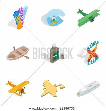 Experience trip icons set. Isometric set of 9 experience trip vector icons for web isolated on white background