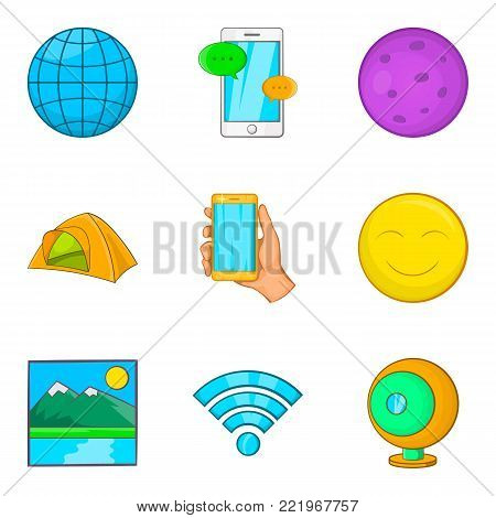 Geological exploration icons set. Cartoon set of 9 geological exploration vector icons for web isolated on white background