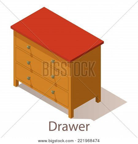 Drawer icon. Isometric illustration of drawer vector icon for web.