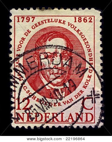 NETHERLANDS-CIRCA 1960:A stamp printed in NETHERLANDS shows image of Jacobus Ludovicus Conradus Schroeder van der Kolk was  Dutch anatomist and physiologist, and an influential researcher, circa 1960.