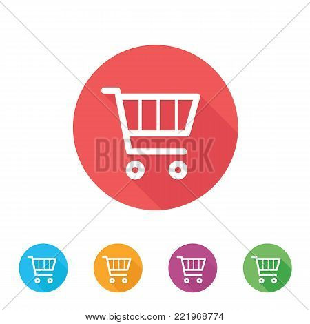 Shopping cart icon. Flat design of trolley. Online shop illustration
