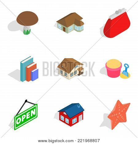 Home furnishings icons set. Isometric set of 9 home furnishings vector icons for web isolated on white background