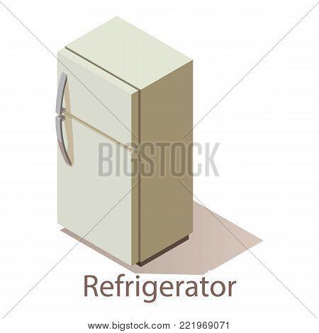 Refrigerator icon. Isometric illustration of refrigerator vector icon for web.
