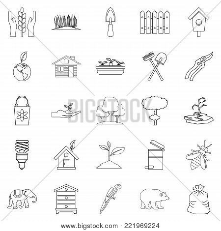 Ecological assistance icons set. Outline set of 25 ecological assistance vector icons for web isolated on white background