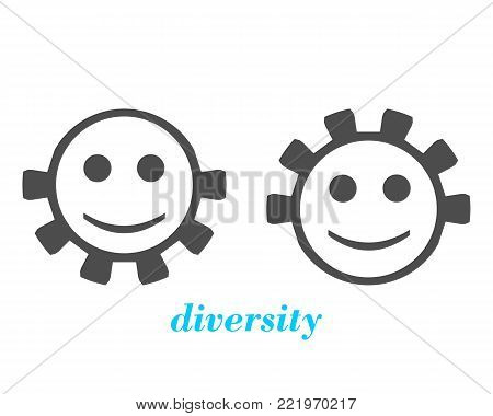Abstract people icons. Diversity between humans metaphor. Person with beard and hairless. Person with hair and without beard