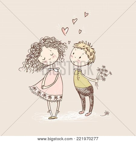 Vector cute sketchy style young couple. Valentine's card. The first love. Girl and boy.