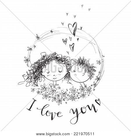 Vector cute sketchy style young couple. Valentine's card. The first kiss. Girl and boy. Round flower frame. I love you