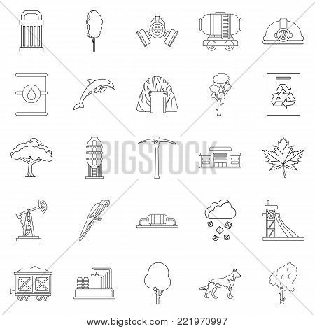 Killing of nature icons set. Outline set of 25 killing of nature vector icons for web isolated on white background