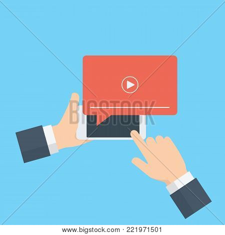 Online streaming, live streaming illustration. Hand holding mobile phone with streaming media on screen