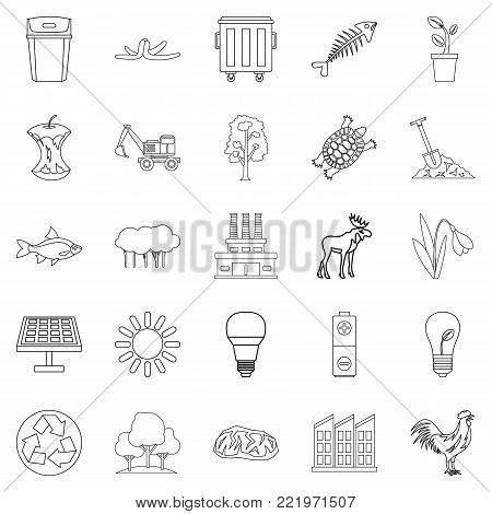 Destruction of nature icons set. Outline set of 25 destruction of nature vector icons for web isolated on white background