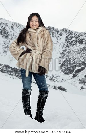 The Beautiful Girl On Snow