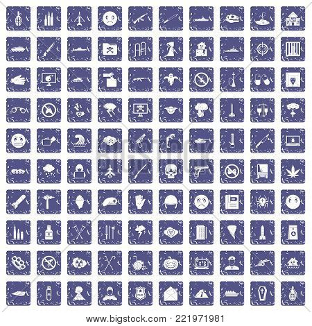 100 oppression icons set in grunge style sapphire color isolated on white background vector illustration