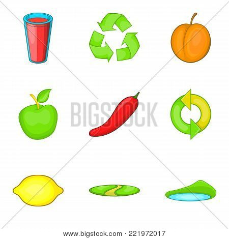 Agricultural company icons set. Cartoon set of 9 agricultural company vector icons for web isolated on white background