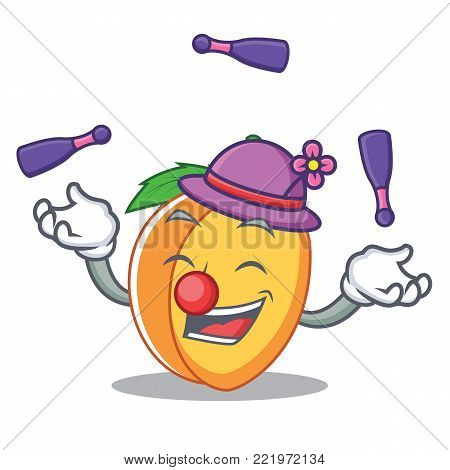 Juggling apricot mascot cartoon style vector illustration