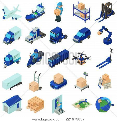 Logistic and delivery icons set. Isometric illustration of 25 logistic and delivery vector icons for web