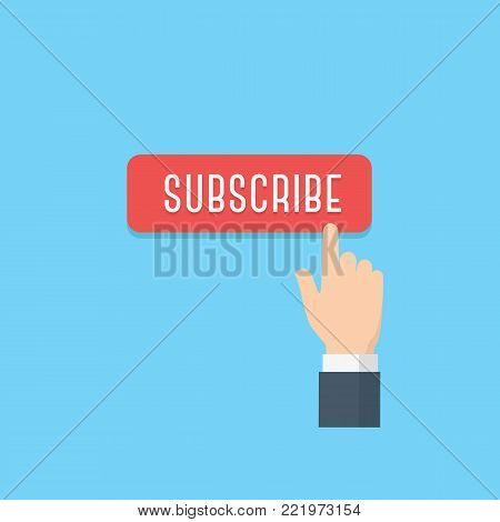 Hand pointing subscribe button. Content updates for video streaming concept