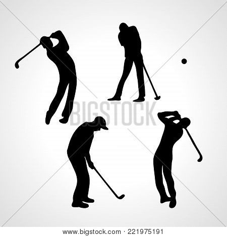 Golfers silhouettes collection. Set of golf players vector eps8