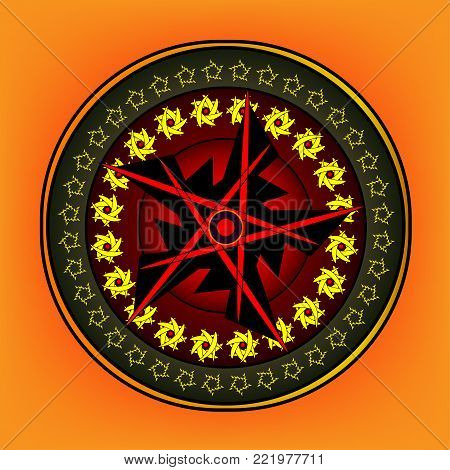 Round ornament with elaborate patterns on an orange background