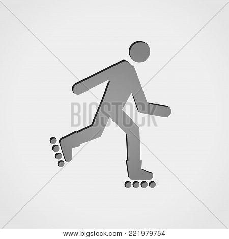 Illustration of rollerskate grey icon concept design