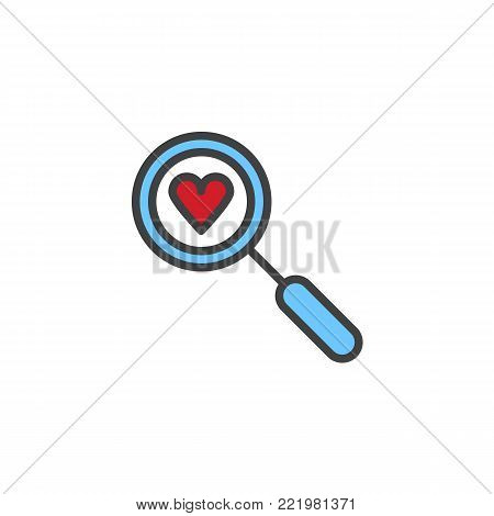 Heart search filled outline icon, line vector sign, linear colorful pictogram isolated on white. Love valentines day symbol, logo illustration. Pixel perfect vector graphics