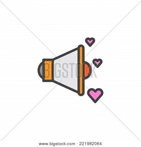 Megaphone and love hearts filled outline icon, line vector sign, linear colorful pictogram isolated on white. Valentines day voice message symbol, logo illustration. Pixel perfect vector graphics