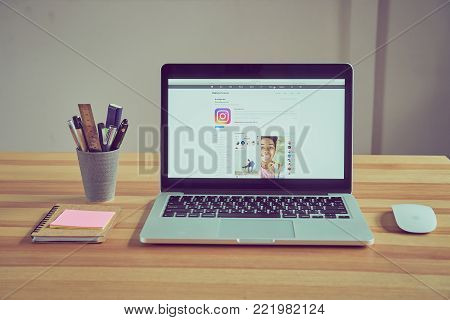 Bangkok, Thailand - January 15, 2018 : Laptop show Login Screen Instagram icons on Apple Mackbook pro. largest and most popular social networking site in the world.