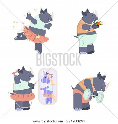 Set of cute rhinoceros. Ballerina in classical tutu, rhino with food, mirror, lifts the barbell. Vector illustration eps 10