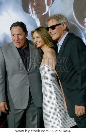 "SAN DIEGO, CA - JULY 23:Jon Favreau, Calista Flockhart and Harrison Ford arrive at the world premiere of ""Cowboys and Aliens"" on July 23, 2011 at the Civic Theatre in San Diego, CA."