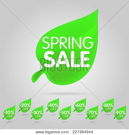 Special offer sale green tag isolated vector illustration. Spring discount offer label, symbol for advertising campaign in retail, sale promo marketing, spring sale off discount sticker. Spring sale label set.