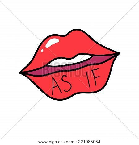 Vector red lips isolated on white. Lips kiss sign, sticker, patch badge. As if. Female mouth. Icon pop art 80s 90s style. Love valintines day symbol. Fashion illustration for banner, card, textile.