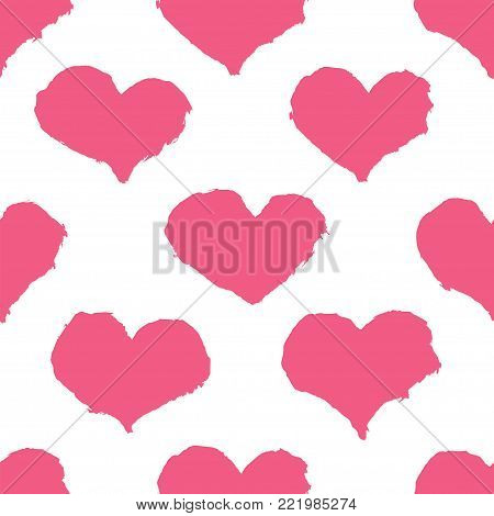 Seamless pattern with had drawn hearts. Rough texture. Ink brush drawn design elements for love story, greeting card, invitation, wedding, St. Valentine day.