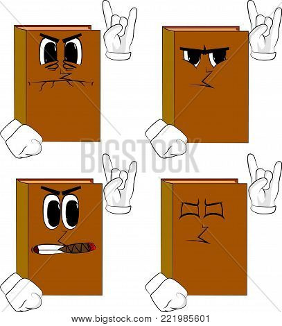 Books with hands in rocker pose. Cartoon book collection with angry faces. Expressions vector set.