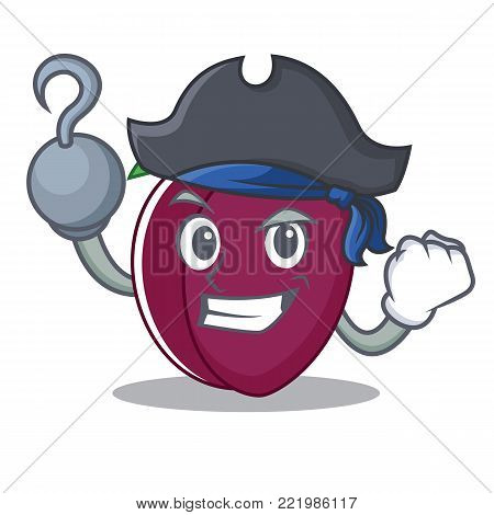 Pirate plum character cartoon style vector illustration