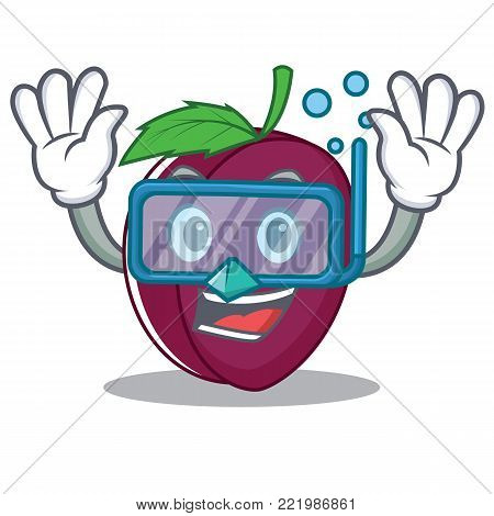 Diving plum character cartoon style vector illustration